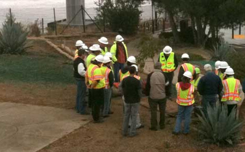 construction workers meeting outdoor