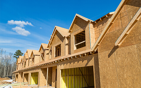 town houses under construction framing stage